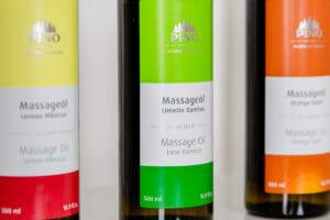Hochwertige Aromalöle der Firma Pino mit speziell entwickelter Pflegeformel für die professionelle Aromaölmassage.