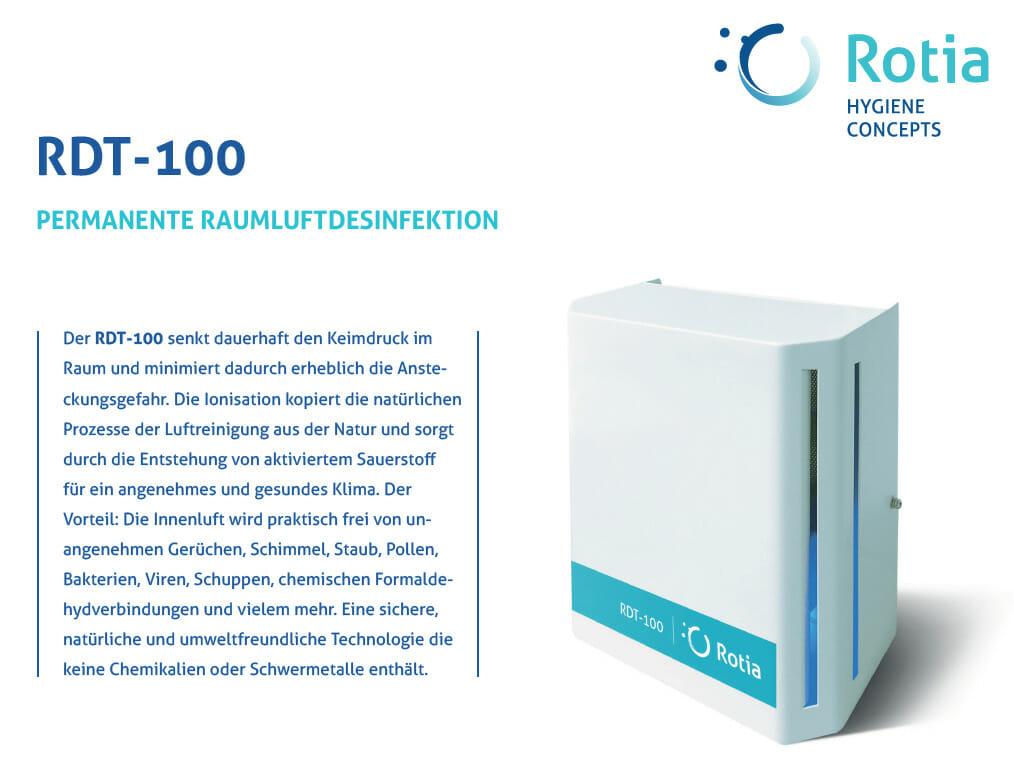 Luftfilteranlage zur 3D-Oberflächen- und Raumluftdesinfektion RDT-100